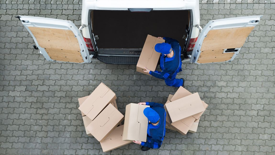 Boxes being loaded into a van